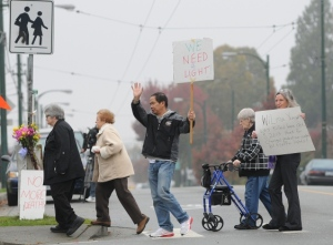 Residents rally at intersection of Earles Street and Euclid Avenue Oct 25. photo courtesy of Vancouver Courier, photo by Dan Toulgoet